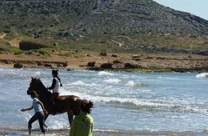 Día en la playa con paseos a caballo